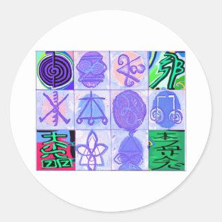 Sticker Rond Art vintage de symboles de KARUNA REIKI par des