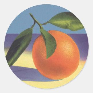 Sticker Rond Art vintage d'étiquette de caisse de fruit,