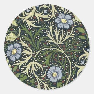 Sticker Rond Art vintage floral de motif d'algue de William