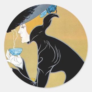Sticker Rond Art vintage Nouveau, thé de Madame Drinking Marco