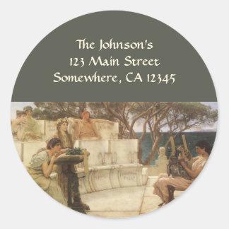Sticker Rond Art vintage, Sappho et Alcaeus par Alma Tadema