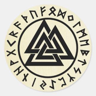 Sticker Rond Asatru, vieille religion des norses, symboles,