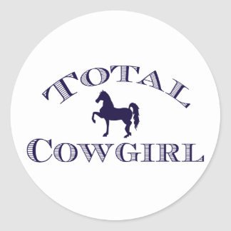 """Sticker Rond Assez """"cow-girl totale """""""