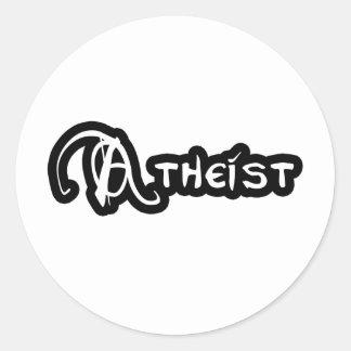 Sticker Rond Athée en noir et blanc