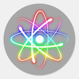 Sticker Rond Atome rougeoyant coloré