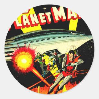 Sticker Rond Attaque sur la planète Mars