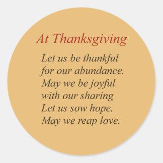 Sticker Rond Au poème de thanksgiving dans des couleurs
