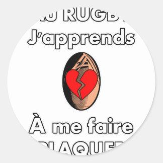 Sticker Rond Au Rugby, j'apprends à me faire plaquer
