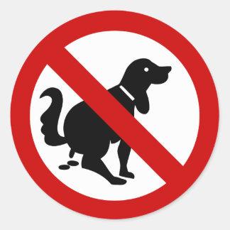Sticker Rond AUCUN chien encrassant le ⚠ thaïlandais de signe