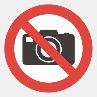 Sticker Rond Aucunes photos permises