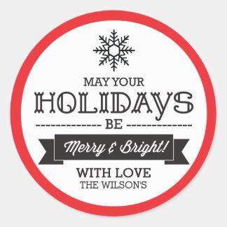 Sticker Rond Autocollants/étiquettes de cadeau de Noël