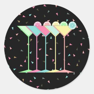 Sticker Rond Autocollants, Martini et confettis de cocktail