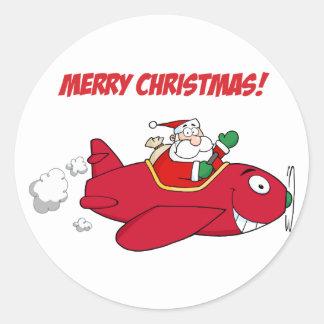 Sticker Rond Autocollants--Père Noël dans l'avion