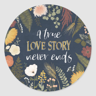 Sticker Rond Automne V Romance   que Love Story vrai ne finit