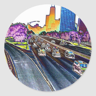 Sticker Rond Autoroute conduisant dans l'aluminium coloré