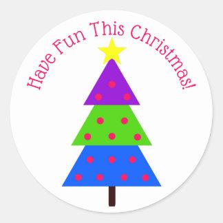 Sticker Rond Ayez l'arbre de Noël d'amusement personnalisé