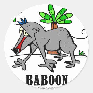 Sticker Rond Babouin par Lorenzo