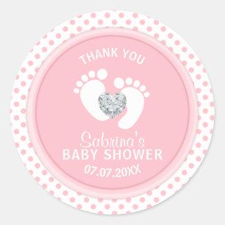 Sticker Rond Baby shower blanc de pieds de polka de rose mignon