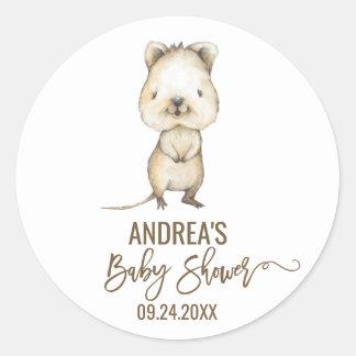 Sticker Rond Baby shower de neutre de Quokka d'Australien