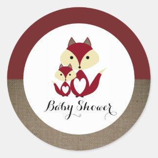 Sticker Rond Baby shower de toile de jute de Fox rouge
