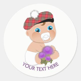 Sticker Rond Baby shower écossais du tartan |Thistle