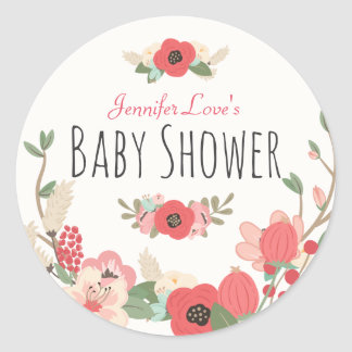 Sticker Rond Baby shower floral de jardin