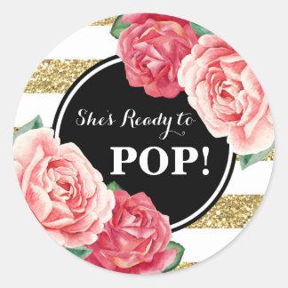 Sticker Rond Baby shower floral de rose noir d'or prêt à sauter