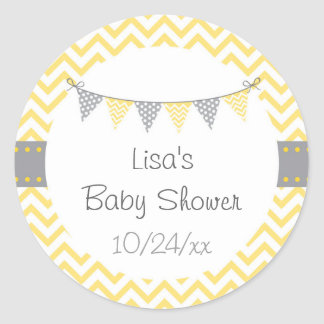 Sticker Rond Baby shower jaune de Chevron