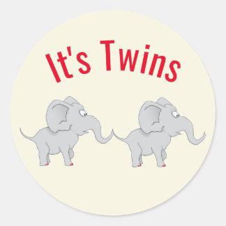 Sticker Rond Baby shower jumeau des éléphants | pour honorer la