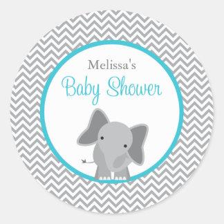 Sticker Rond Baby shower mignon de Chevron Teal d'éléphant
