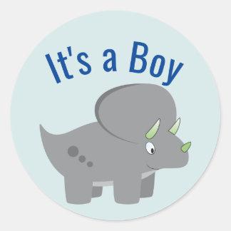 Sticker Rond Baby shower mignon du dinosaure | pour honorer la