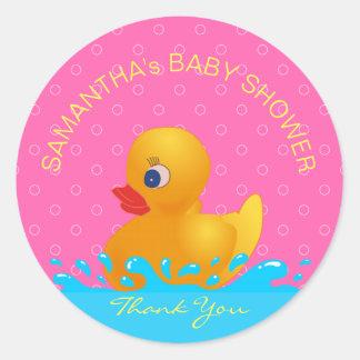 Sticker Rond Baby shower mignon en caoutchouc rose bleu jaune