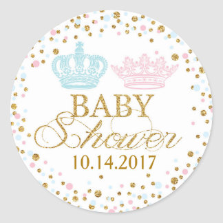Sticker Rond Baby shower royal bleu de jumeaux de rose de