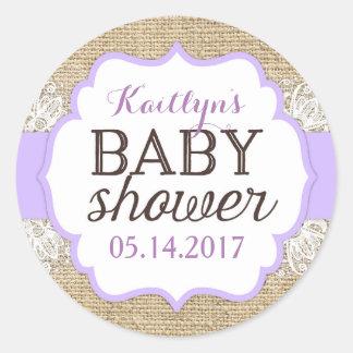 Sticker Rond Baby shower rustique de fille de lavande de