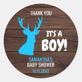 Sticker Rond Baby shower rustique de thème de garçon de cerfs