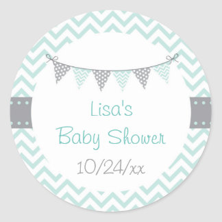 Sticker Rond Baby shower vert de Chevron