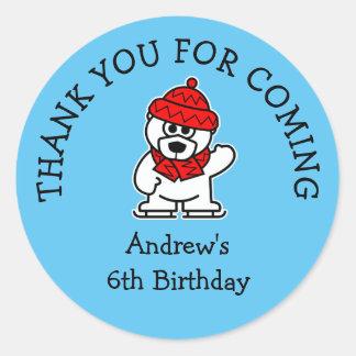 Sticker Rond Badine l'ours blanc mignon de fête d'anniversaire