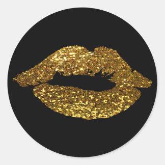 Sticker Rond Baiser de parties scintillantes d'or sur les