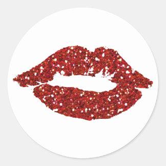 Sticker Rond Baiser rouge de parties scintillantes sur les