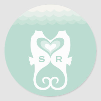 Sticker Rond Baisers du mariage d'été de plage de coeurs