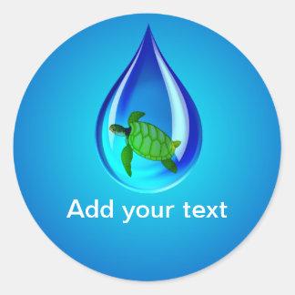 Sticker Rond Baisse de l'eau et tortue de mer