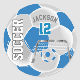 Sticker Rond Ballon de football bleu et blanc