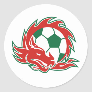 Sticker Rond Ballon de football de dragon de Gallois