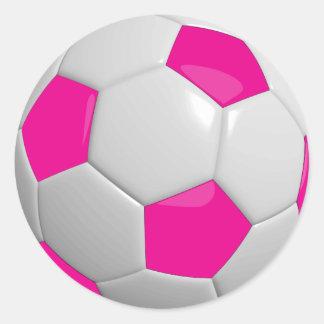 Sticker Rond Ballon de football de roses indien et de blanc