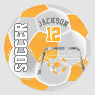 Sticker Rond Ballon de football jaune et blanc d'or