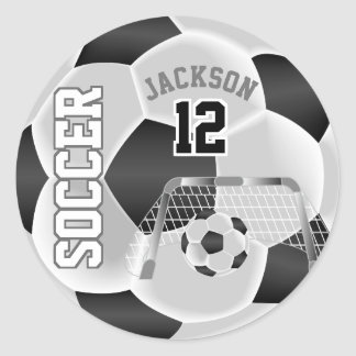 Sticker Rond Ballon de football noir et blanc