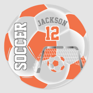 Sticker Rond Ballon de football orange et blanc