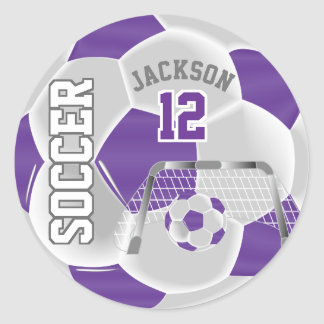 Sticker Rond Ballon de football pourpre et blanc