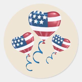Sticker Rond Ballons heureux de coeur du 4 juillet