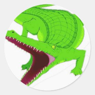 Sticker Rond bande dessinée d'alligator